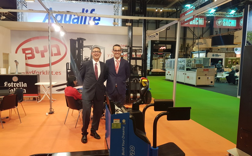 Europea de Carretillas presente en la feria hortofrutícola internacional Fruit Attraction 2017 en el stand de BYD Forklift